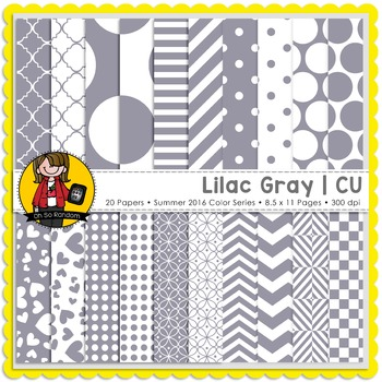 Lilac Gray Digital Papers {CU}
