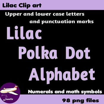 Lilac Polka Dot Alphabet Clip Art + Numerals, Punctuation