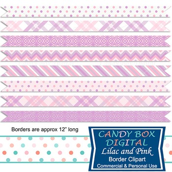 Lilac and Pink Digital Ribbon Borders for scrapbooks and websites