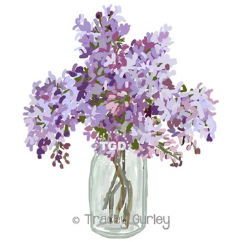 Lilacs in Vase - lilac clip art, lilac painting Printable