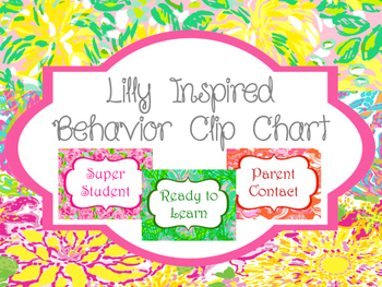 Lilly Inspired Behavior Clip Chart   Bright Classroom Decor