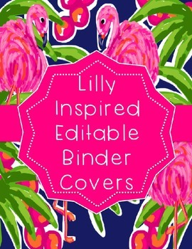 Lilly Inspired Flamingo Editable Binder Covers
