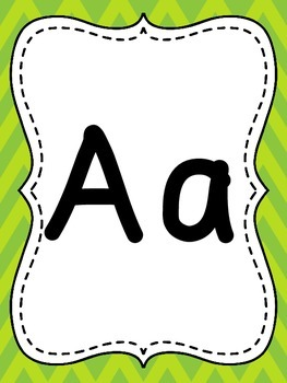 Lime Green Chevron Alphabet