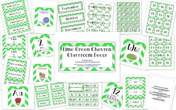 Lime Green Chevron Classroom Decor