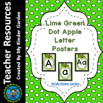 Lime Green  Dot Apple Full Page Alphabet Letter Posters
