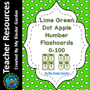Lime Green Dot Apple Number Flashcards 0-100
