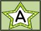 Lime Green Dot Star Alphabet Letter Posters