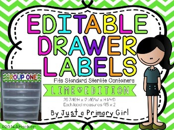 Lime Green Editable Chevron Drawer Labels