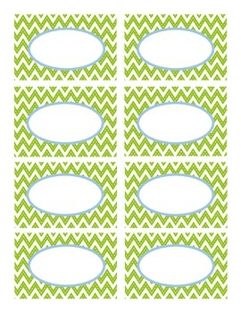 Lime Stitched Chevron and Blue Classroom Decor Labels