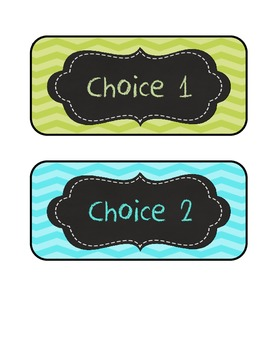 Lime green, Aqua blue, Chevron lunch choices /student numb