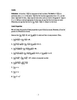Limits Lesson + Examples + Practice