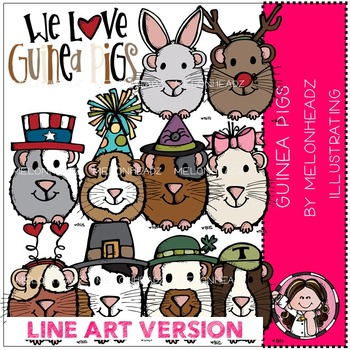 Linda's guinea pigs by Melonheadz LINE ART