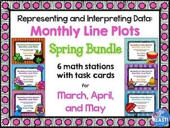 Line Plot Math Center Spring Bundle of 6: Measure & Interp
