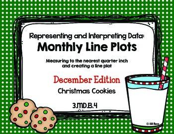 Line Plot Math Center Task Cards December: Measure & Inter