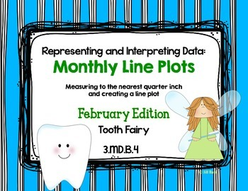 Line Plot Math Center Task Cards February: Measure & Inter