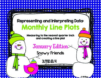 Line Plot Math Center Task Cards January: Measure & Interp