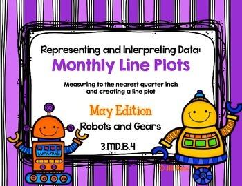 Line Plot Math Center Task Cards May #2: Measure & Interpr