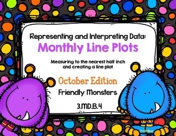 Line Plot Math Center Task Cards October: Measure & Interp
