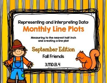 Line Plot Math Center Task Cards September: Measure & Inte