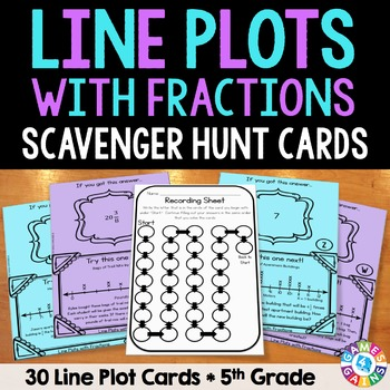 Line Plots Task Cards: Line Plots with Fractions (5.MD.2)
