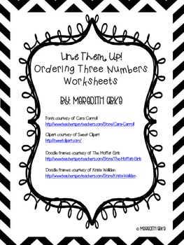 Line Them Up! Ordering Three Numbers Worksheets