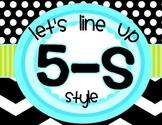 Line up 5-S Style Black and Aqua