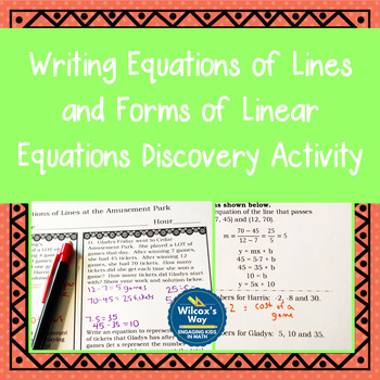 Equations of Lines Discovery Activity and Forms of Linear