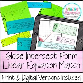 Linear Equation Card Match (Slope Intercept Form)
