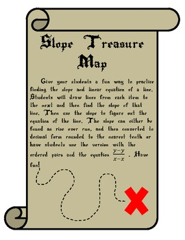 Linear Equation and Slope Treasure Map