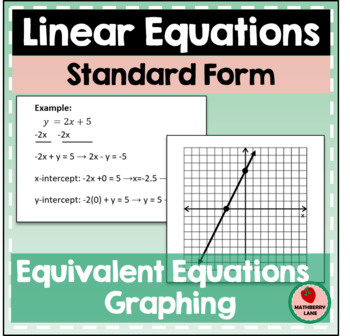 Linear Equations - Equivalent Equations and Graphing - Sta