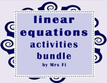 Linear Equations Notes and Activities Bundle