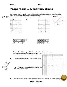 Linear Equations & Proportions Practice