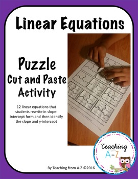 Linear Equations Puzzle Cut and Paste Activity