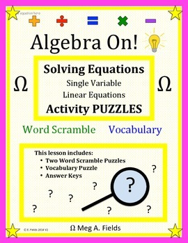 Fun Algebra Puzzles - Solving Single Variable Linear Equations