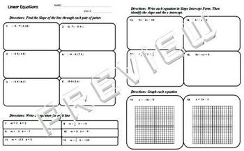 Linear Equations Quiz Review Worksheet Slope Graphing Slop