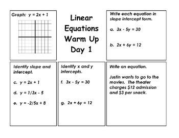 Linear Equations Warm Ups