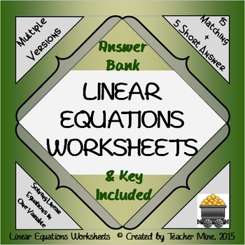 Linear Equations Worksheets