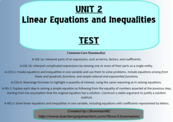 Linear Equations and Inequalities Test (Math 1)
