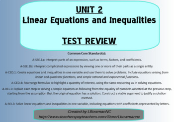 Linear Equations and Inequalities Test Review (Math 1)