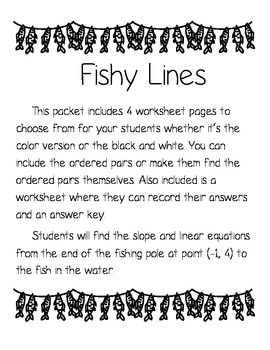 """Linear Equations and Slope in Standard Form """"Fishy Lines"""""""