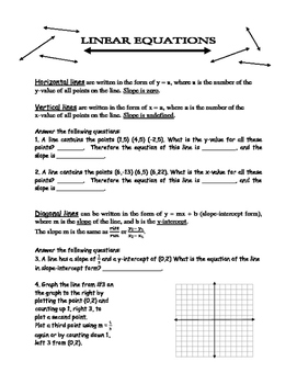 Linear Equations - review and practice