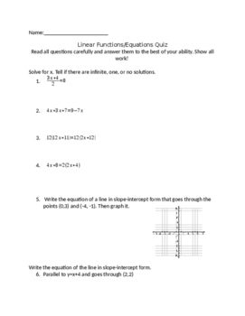 Linear Functions/Equations Quiz