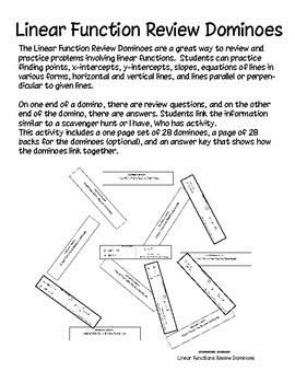 Linear Functions Review Dominoes - PP
