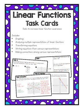 Linear Functions Task Cards