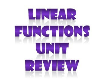Linear Functions Unit Review Activity