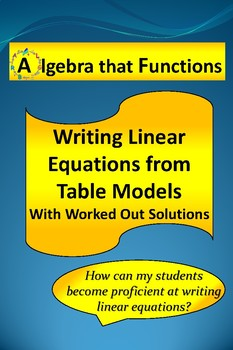 Linear Functions: Writing Equations from Table Models with