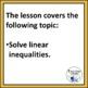 Linear Inequalities Algebra Lesson