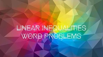 Linear Inequalities Word Problem Algebra Math Stations / Centers