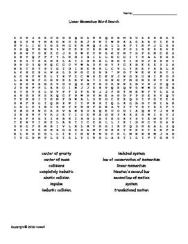 Linear Momentum Vocabulary Word Search for Physics