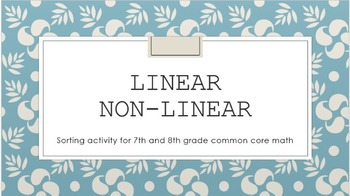 Linear Non-linear Sorting Activity Math Common Core